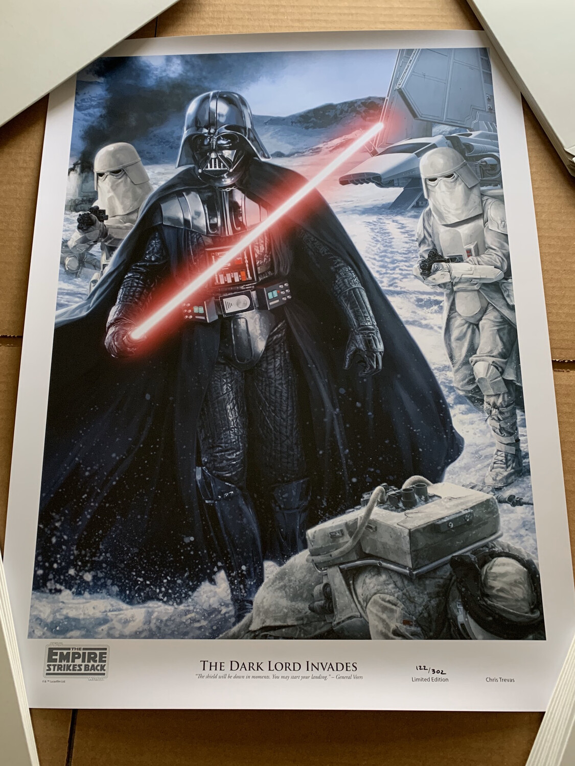THE DARK LORD INVADES #122 OF 302 BY CHRIS TREVAS WITH FREE SIGNED DARTH VADER PHOTO