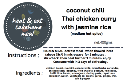Coconut Chilli Thai Chicken Curry with Jasmine Rice - Frozen Meal