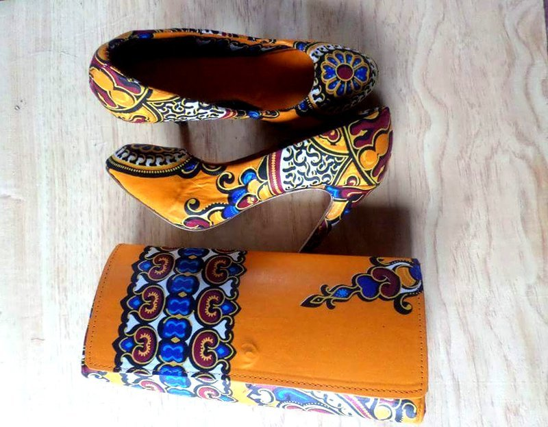 Handwoven Fabrics Stilettos with clutch bag