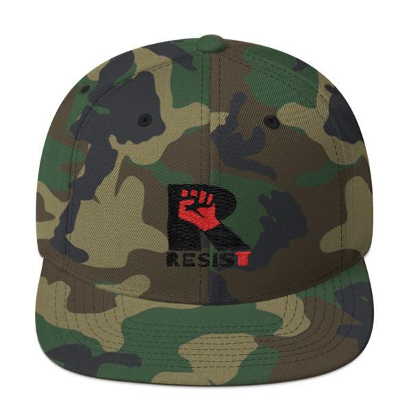 """RESIST,"" Long Snapback, Flat Brim, Yupoong Wool Blend Hat"
