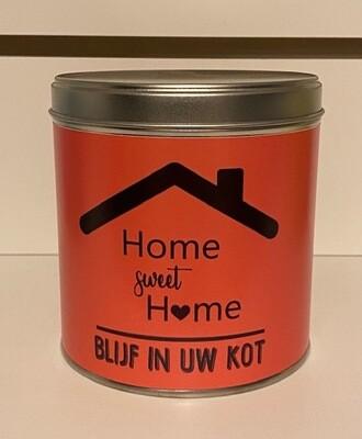 Blik oranje met chocolade home sweet home