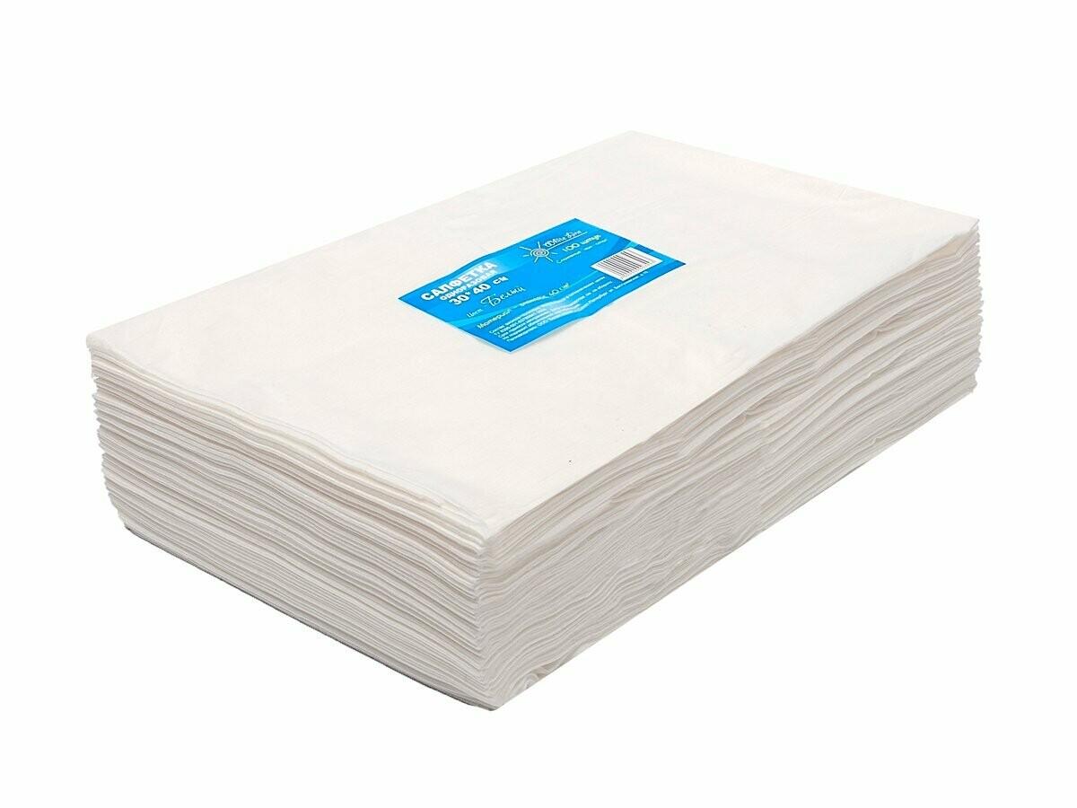 WhiteLine - Салфетка одноразовая 30*40 БЕЛАЯ, спанлейс, 100шт