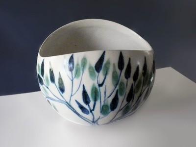Vintage Blue Green Leaf Large Salad Bowl by Brenda Andersen