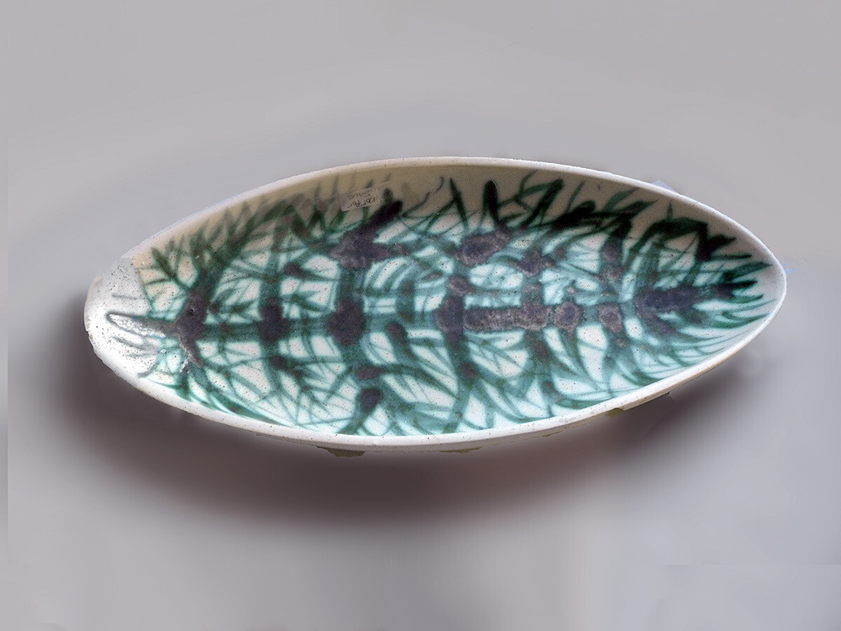 One of a Kind Platter with Green Primitive Tree by Brenda