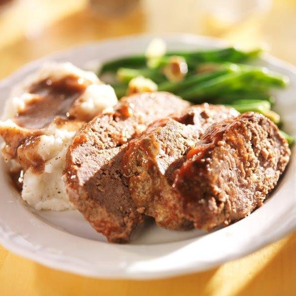 Authentic Meatloaf with Mashed Potatoes.    Salad