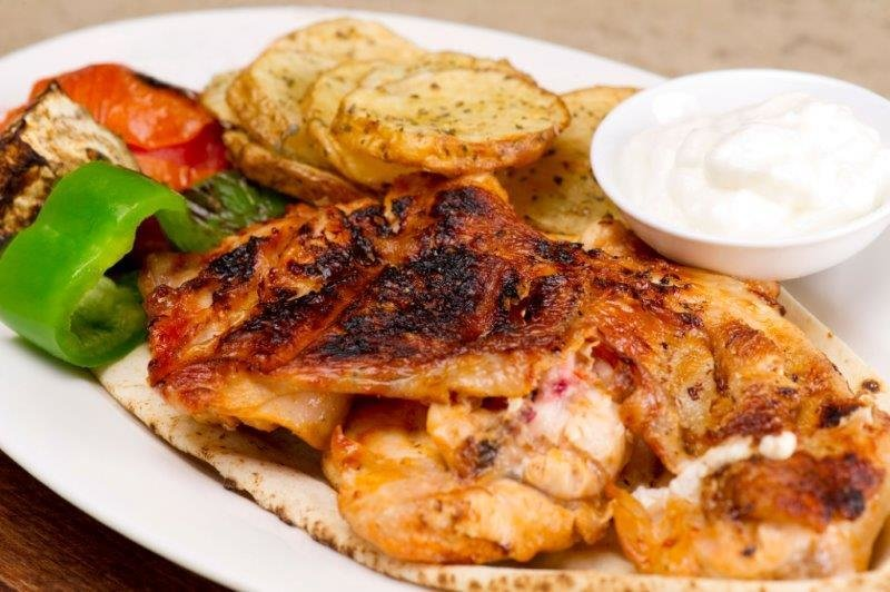 Lemon-Oregano Oven Roasted Chicken Breast,  Roasted Bliss Potatoes. Tomat/Cucumber Salad