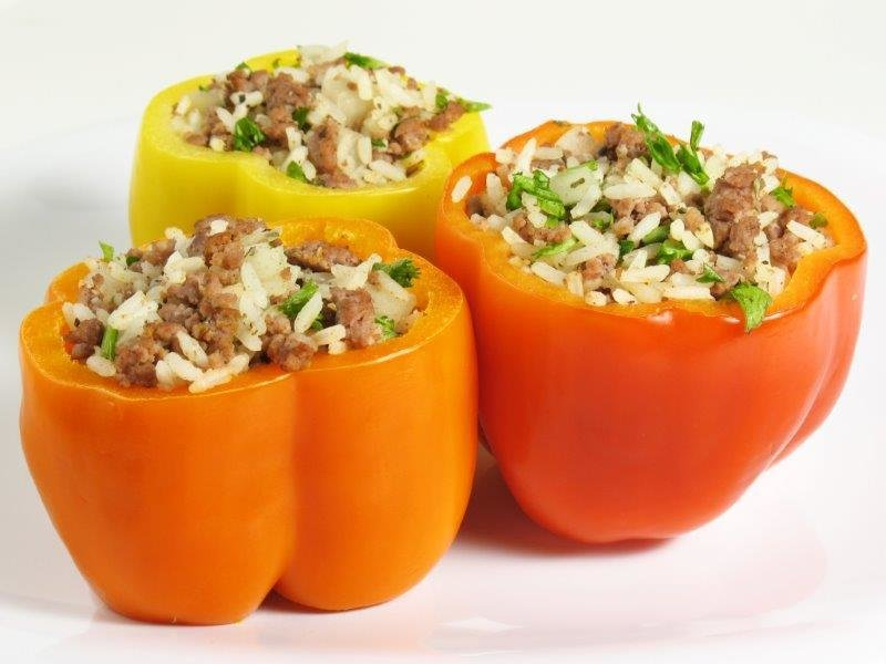 Pepper Stuffed with Ground Beef, Herbs, Rice, Cheese & Spices. Chickpea Salad