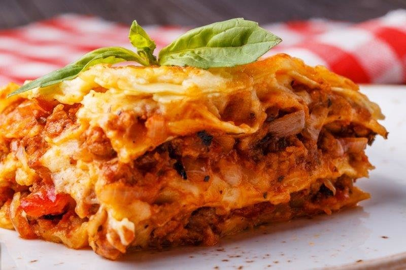 Meat Lasagne with Tomato/Cucumber Salad