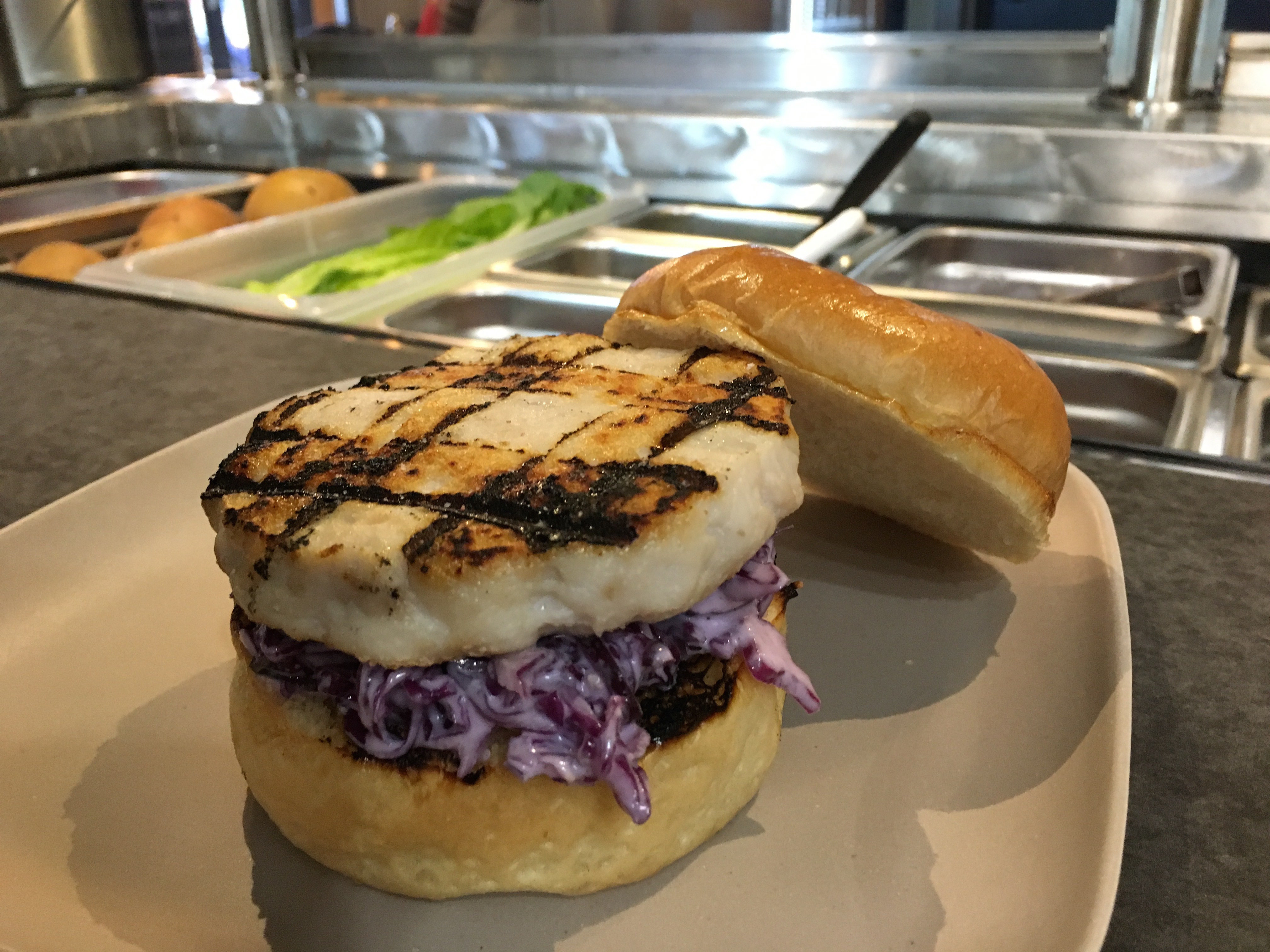 ROCKFISH --- Wild Caught Fish Burger w/ Recommended Pairings Options 0001