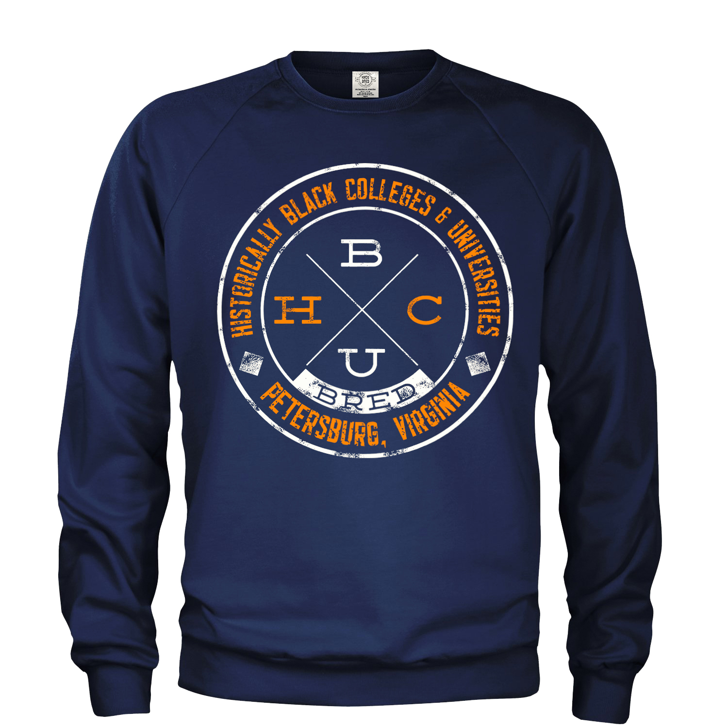 Crew Neck Sweatshirt - Navy Blue w/Orange and white text 000001