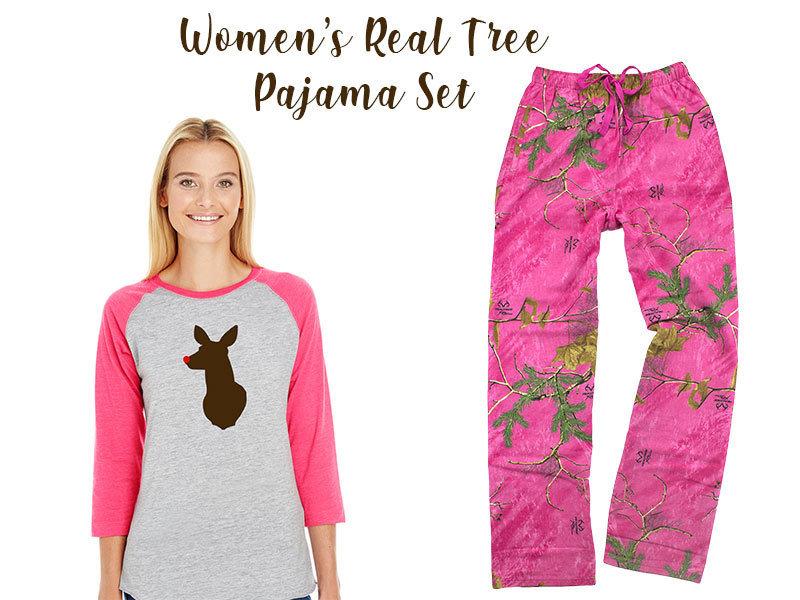 Women's Real Tree Reindeer Pajama Set