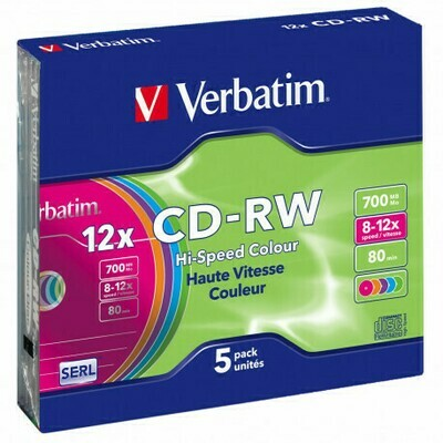 Verbatim CD-RW With Slim Jewel Case, Pack of 5-disk