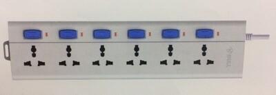 Bull 6 Sockets, 6 Switch 2mtr Extension Board