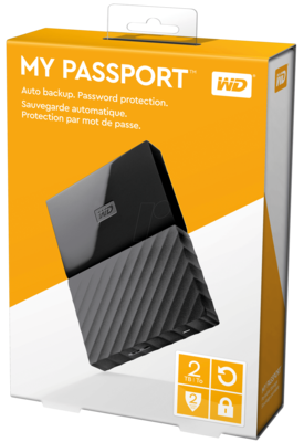 WD 2TB My Passport USB External Hard drive, Black