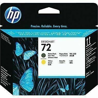 HP 72 Printhead, Matte Black and Yellow