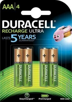 Duracell AAA, 4, Battery, 900mAh, Rechargeable Ultra