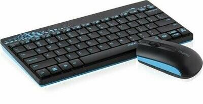 Rapoo 8000 Mini Wireless Keyboard Mouse, Blue