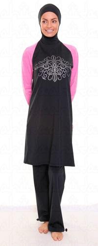Ahiida® 2 piece Burqini® Modest-Fit black pink