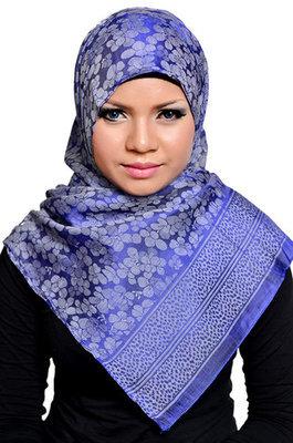 Baumwollschal blau, Echarpe cotton bleu, Blue cotton wrap