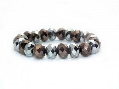Armband graue Glasperlen, bracelet aux perles en verre, glass pearl bracelet