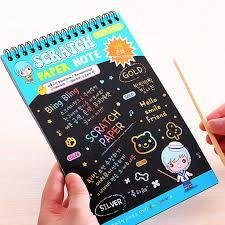 2 PCS 10 Pages of Scratch Notes Rainbow- Note Paper Doodle Pad Drawing Notes