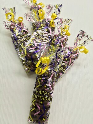 Mini Pretzel Happy Birthday Bag. 8 Milk Chocolate Mini Pretzels and 2 Milk Chocolate with Nonpareils.