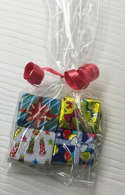Solid Milk Chocolate Birthday Packages.  Choice of Ribbon Color