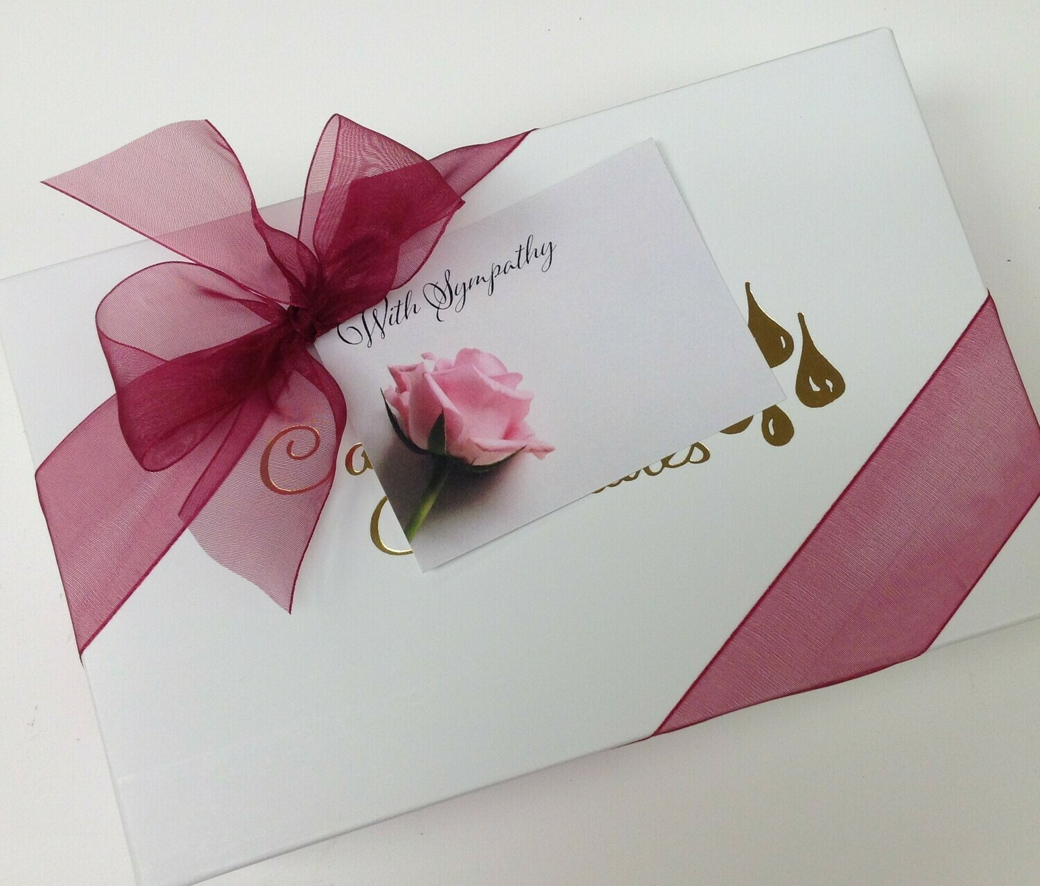 Sympathy Over 2 pounds of Chocolates with bow and card. FREE SHIPPING.  Choose your Chocolate
