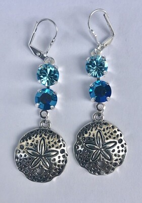 These are Leverback earrings that hang 2.5 inches.  The Swarovski crystals have been placed in an antique silver setting.