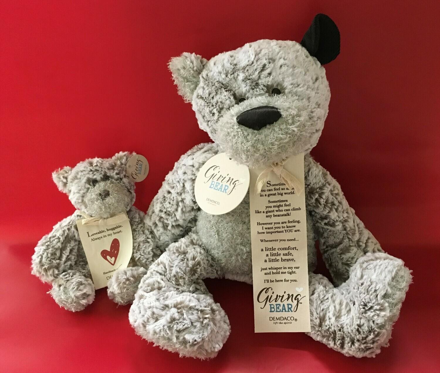 The Giving Bears.  2 Sizes.  Show someone you are thinking of them.  Add a box of Chocolates to really brighten their day.
