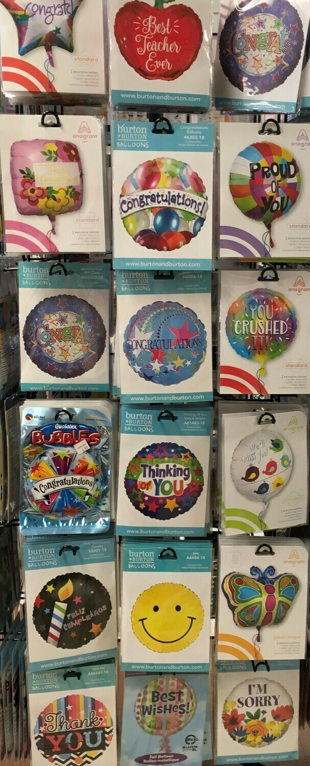 Helium Balloons Selection 3.  Congrats, Thinking of you, Thank you, I'm Sorry, Proud of you.