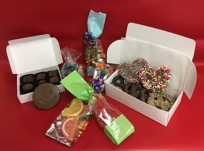 Feel Good Care Package.  Includes 1/3 poound Asst. Chocolates, Jelly Bellys, Nonpariels, Gourmet Pretzels, Fruit Slices, Swedish Fish and one Solid Milk Chocolate Happy Face. Free Shipping!