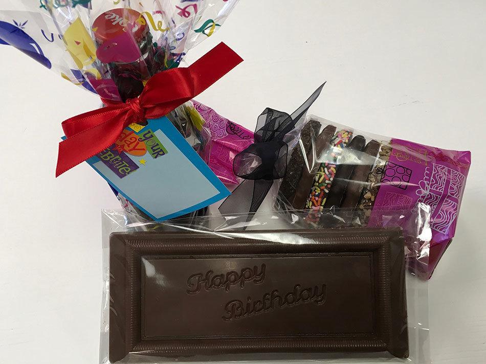 Happy Birthday Chocolates.  Milk Chocolate HB Bar, Gourmet Pretzels and Chocolate Covered Coke 8 oz.