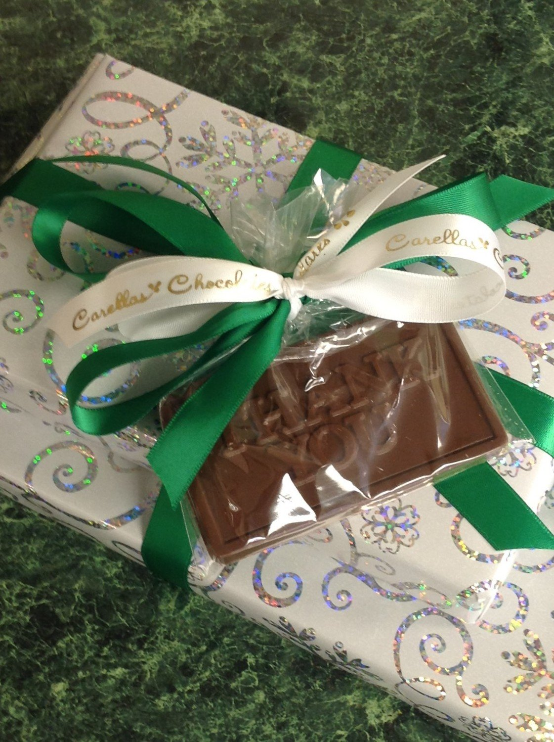 One Pound of Assorted Chocolates w/ Milk Chocolate Thank you Bar Attached.
