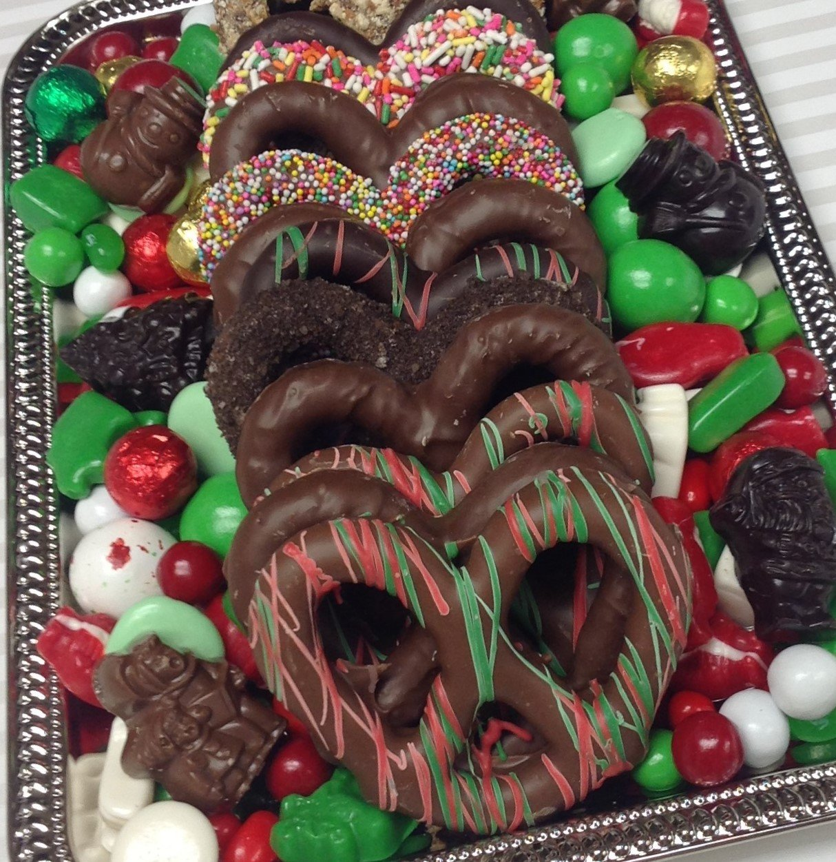 Assorted 3 Ring Pretzel Tray with Holiday Mix Wrapped.