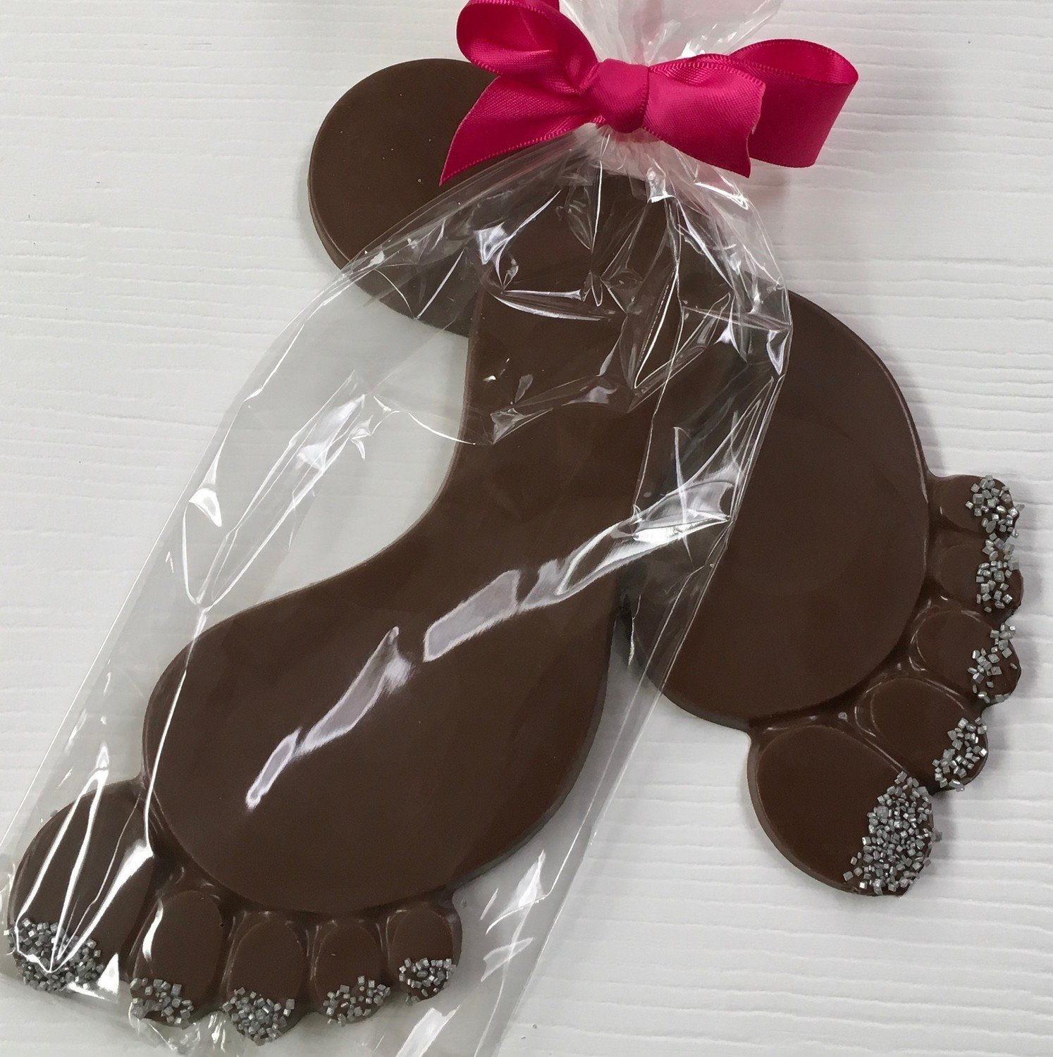 Large Foot.  Peanut & Gluten Free. Choice of Ribbon Color.  Allow 2 days extra