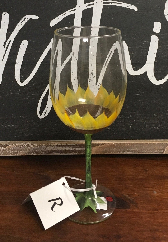 "Hand Painted Sunflower Wine Glass.  19"" tall, 19 oz."