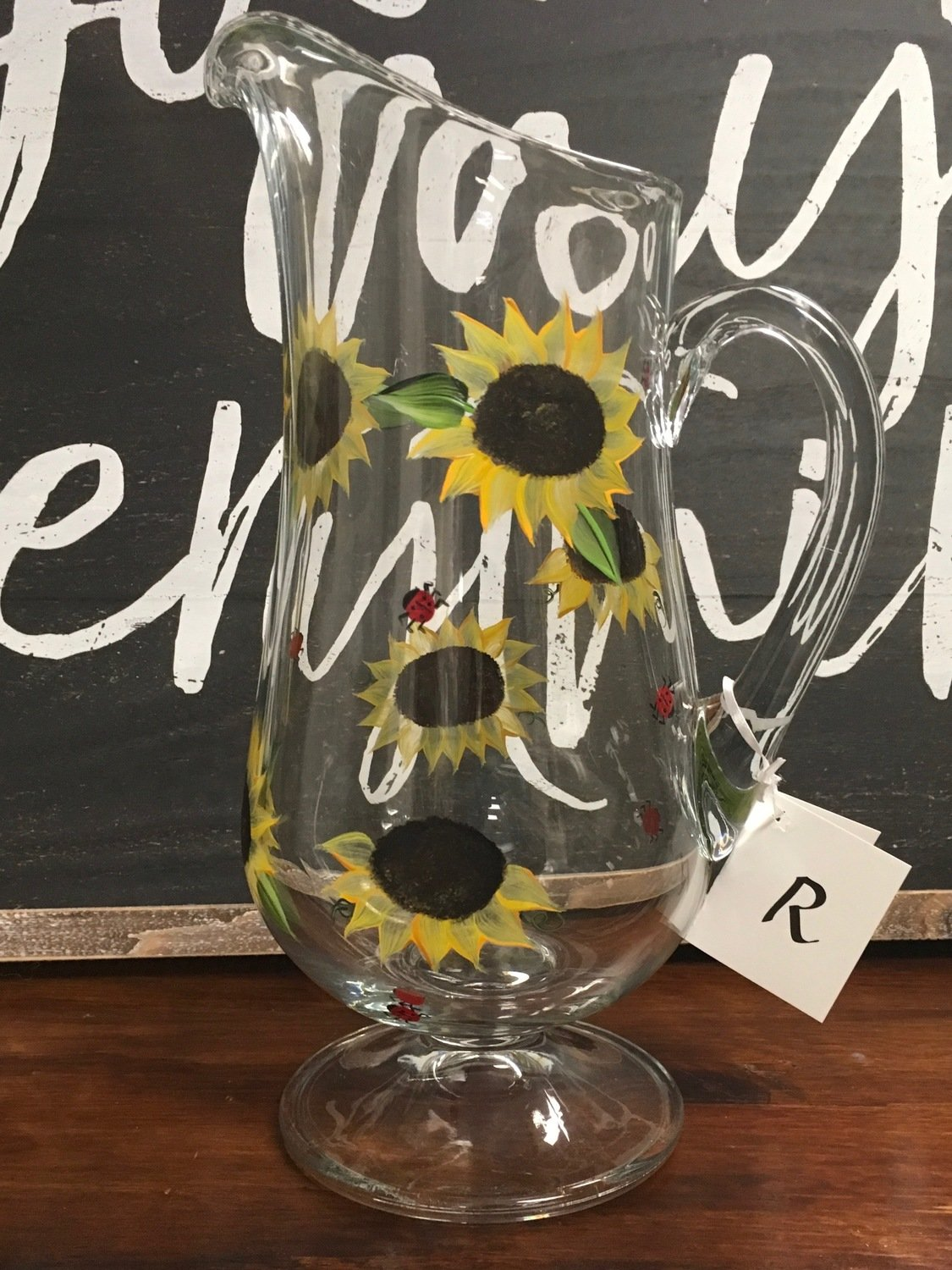 """Sunflower Pitcher.  Hand Painted.  Approx. 12""""x7"""""""