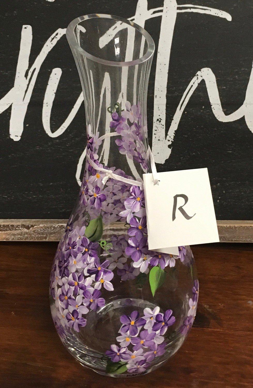 "10"" x 5"" Purple Hydrangea Bud Vase."