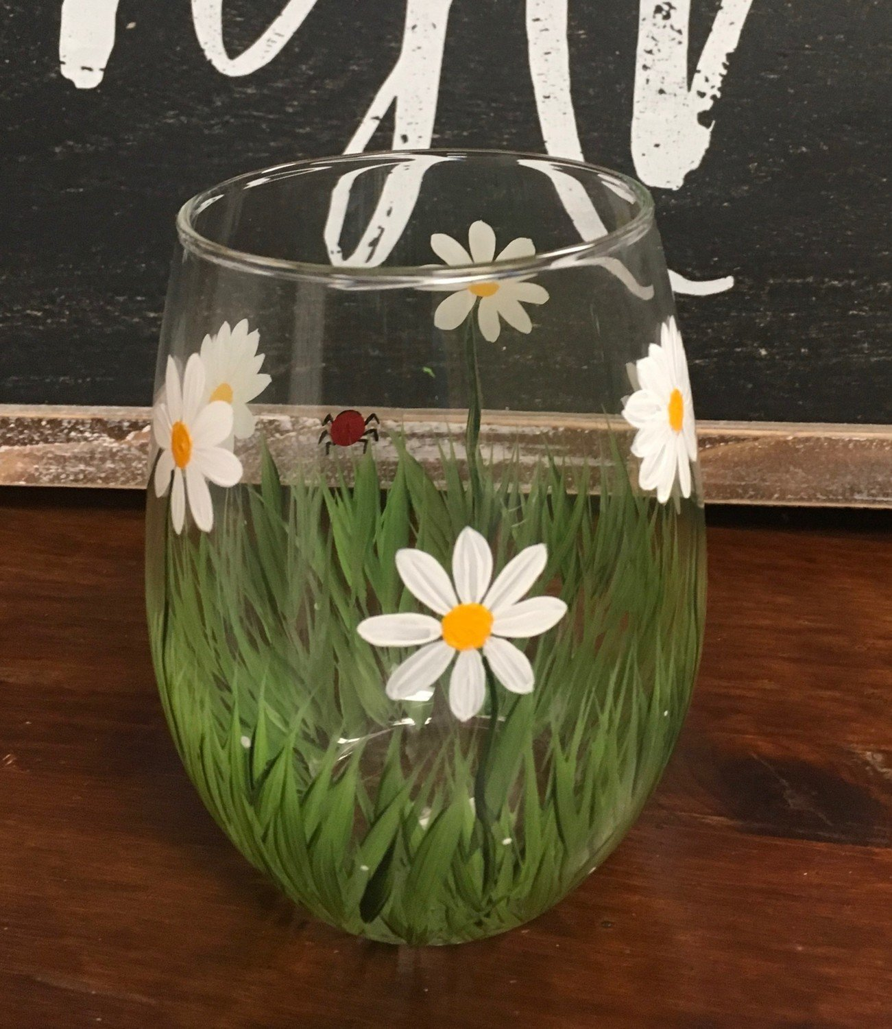 """Daisy Stemles Wine Glass. 5""""tall, 21 oz. Hand Painted"""