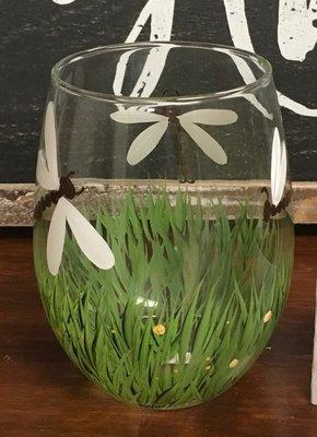 Dragonfly Stemless Wine Glass.  5