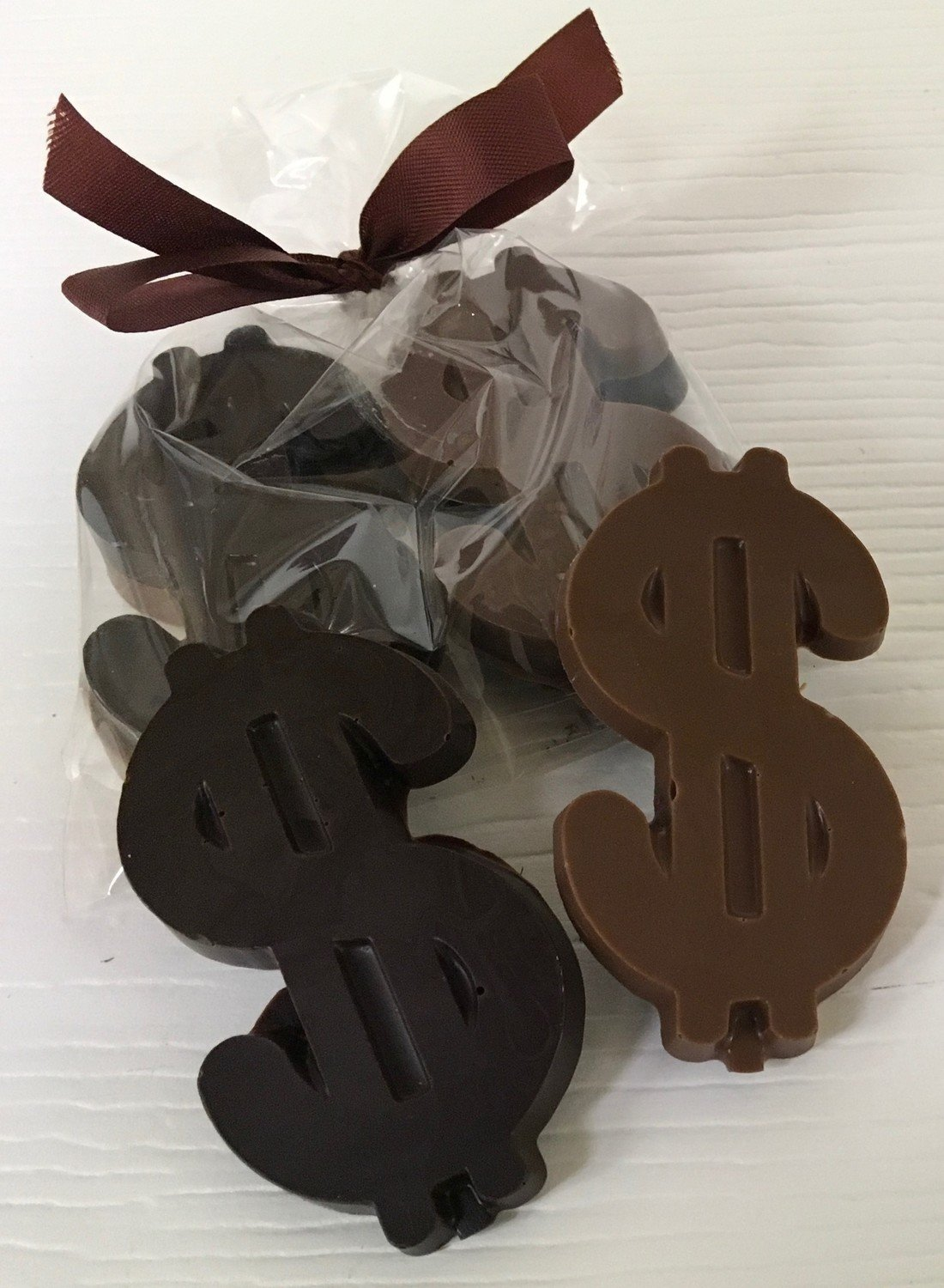 """10 Small Chocolate Dollar Signs Bagged w/ Ribbon.  2 in a Bag. 1 MK 1 DK Each dollar sign is 3"""" x 1 1/2"""" Choose your Color Ribbon"""
