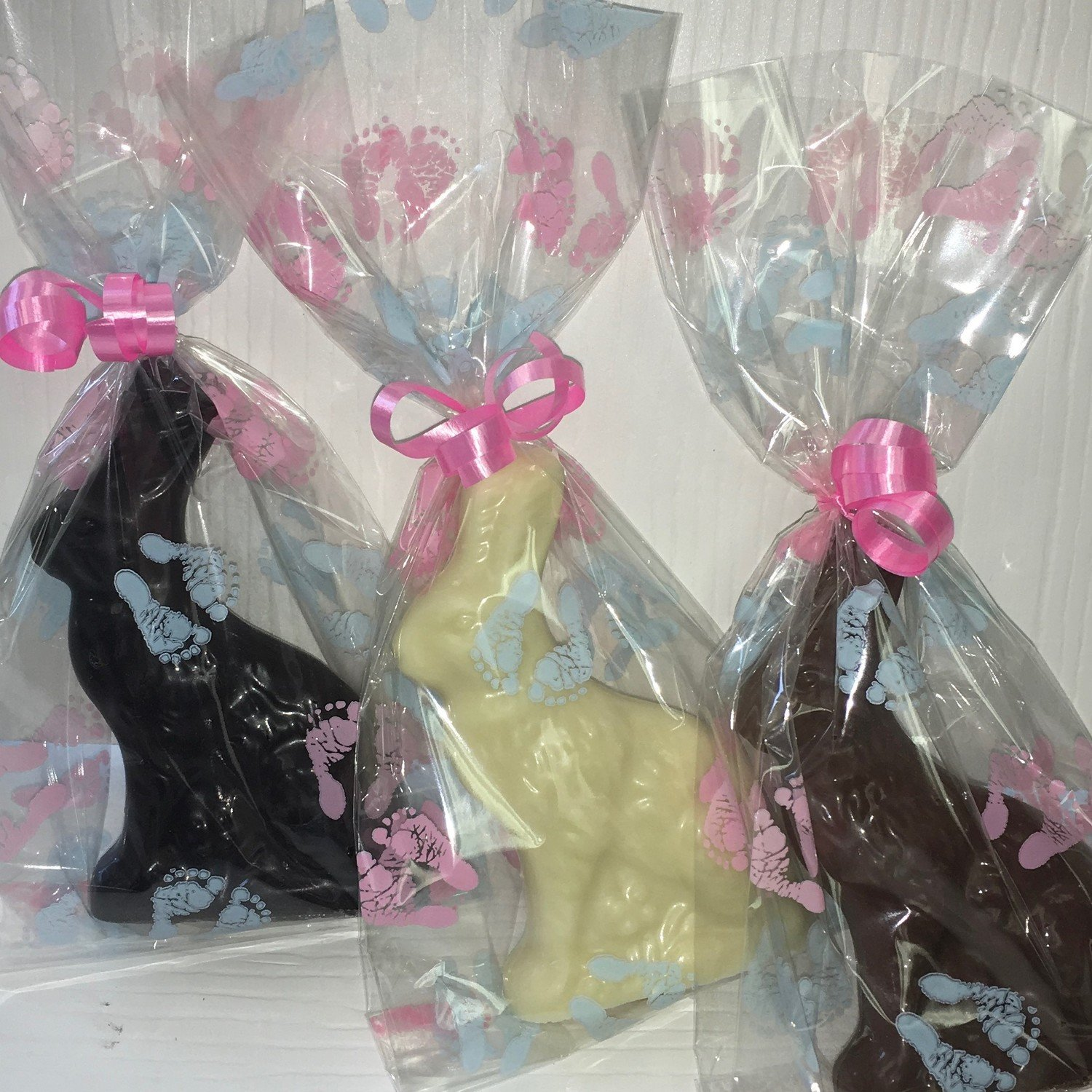 """10 Little Brother Baby Bunny Favor.  approx. 4"""" tall. Available in Milk or Dark Only.  Choose Ribbon Color"""