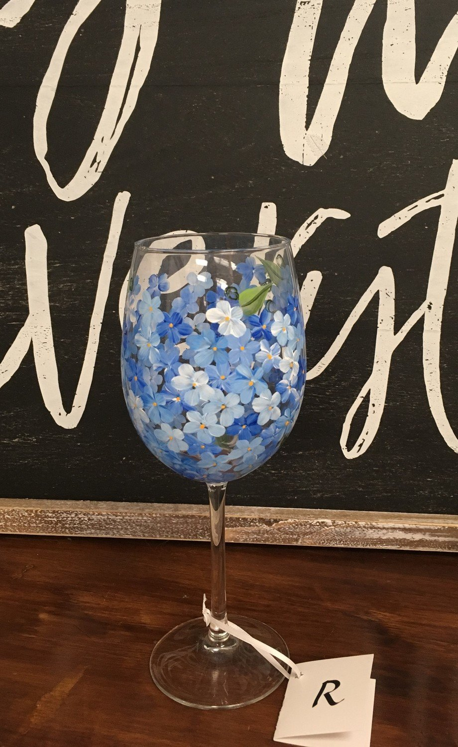 "Blue Hydrangea Wine Glass.  9"" tall, 19 oz. Hand Painted"