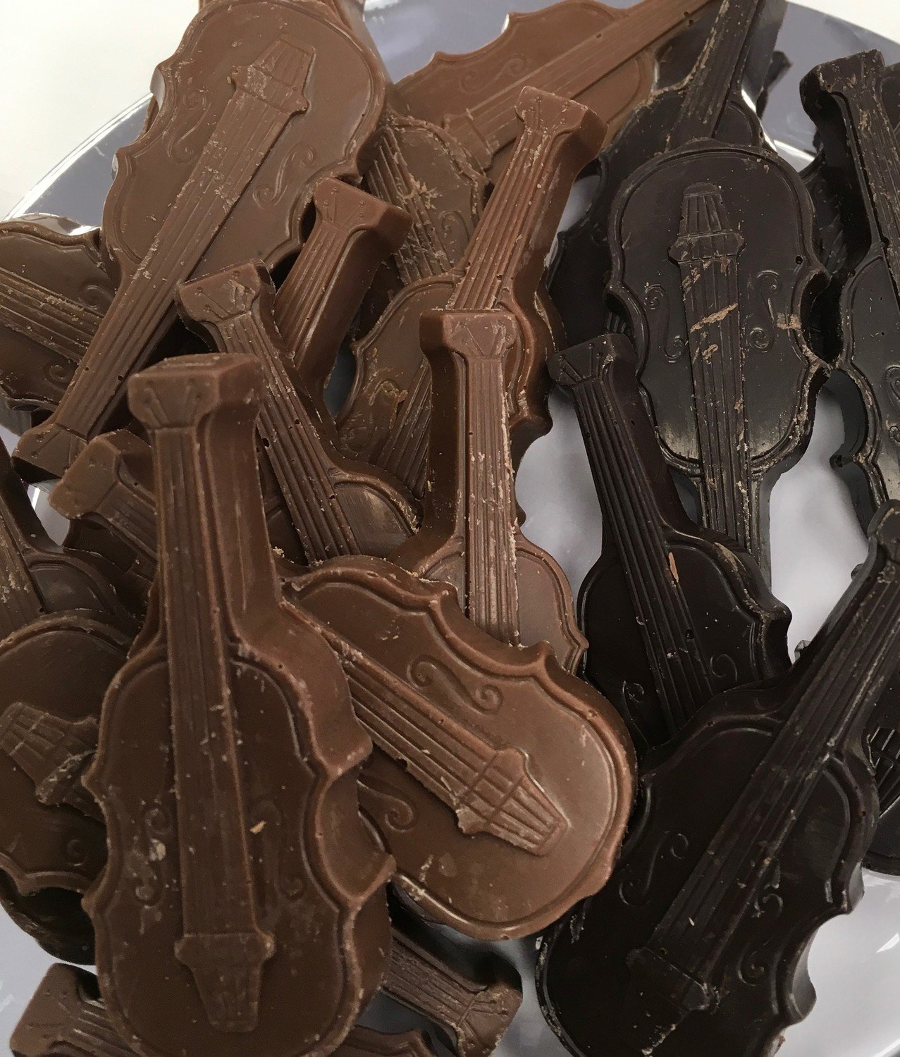 """Solid Chocolate Violins.  3"""" x 1"""" Peanut and Gluten Free.  32 to a Lb."""