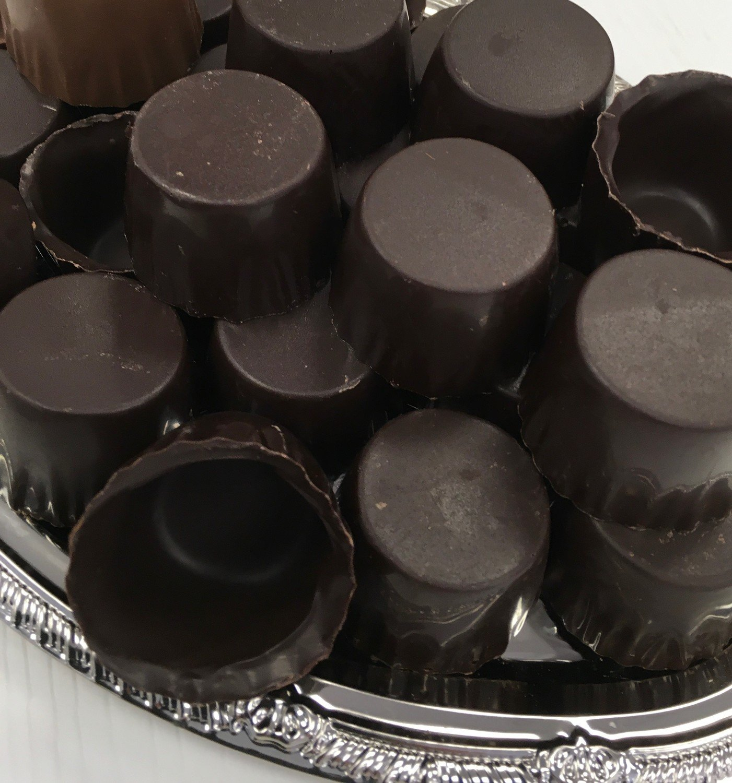 F - One Dozen Dark Chocolate Liquor Cups.  Peanut and Gluten Free.