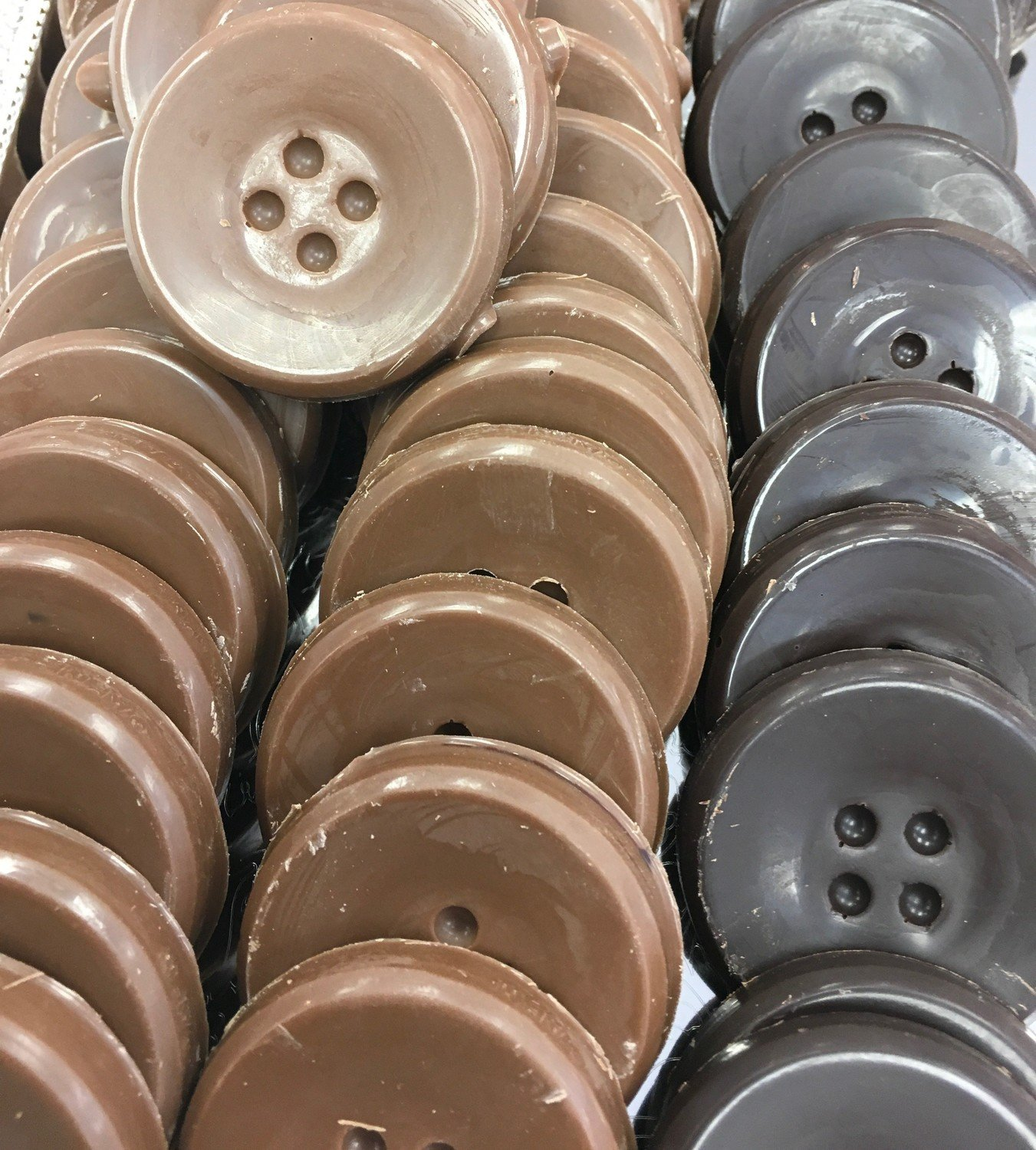 "F - Chocolate Buttons. 1 3/4"" approx. Peanut and Gluten Free.  36 to a Lb."