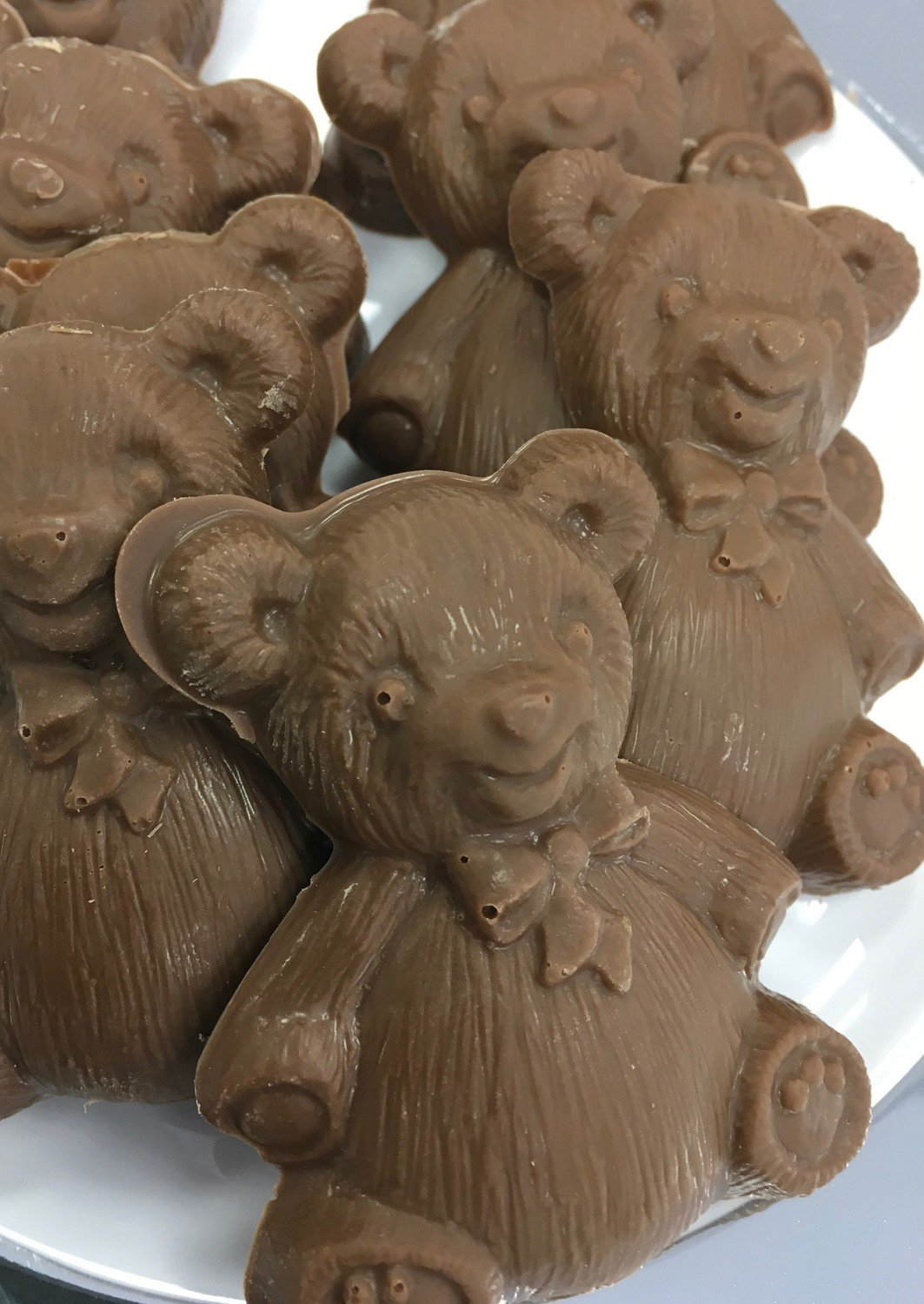 """F - Chocolate Teddy Bears. Milk Chocolate Only. 3"""" x 2"""" approx.  Peanut and Gluten Free.  20 to a Lb."""
