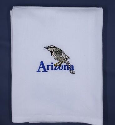 Cactus Wren White Tea Towel