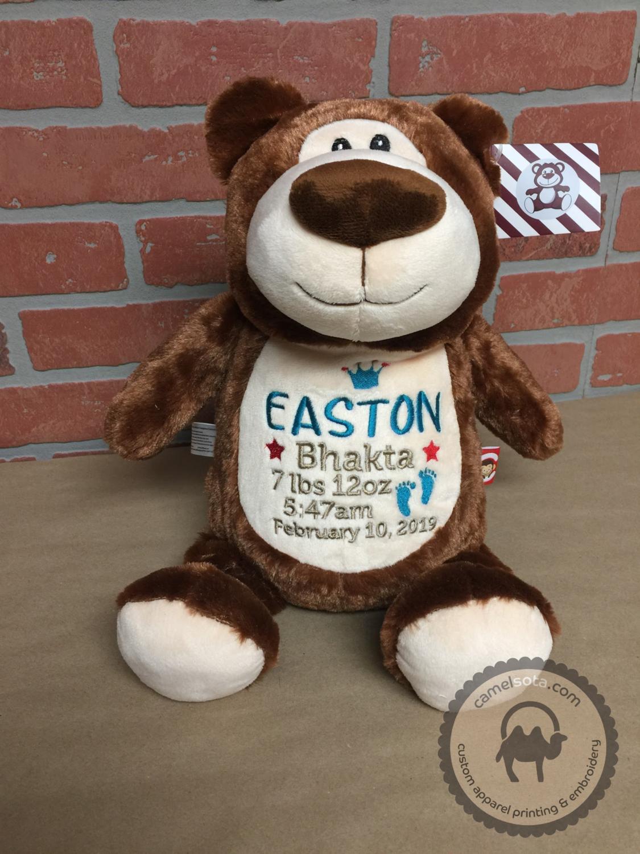 Custom Embroidered Bear Cubby - Brown Bear